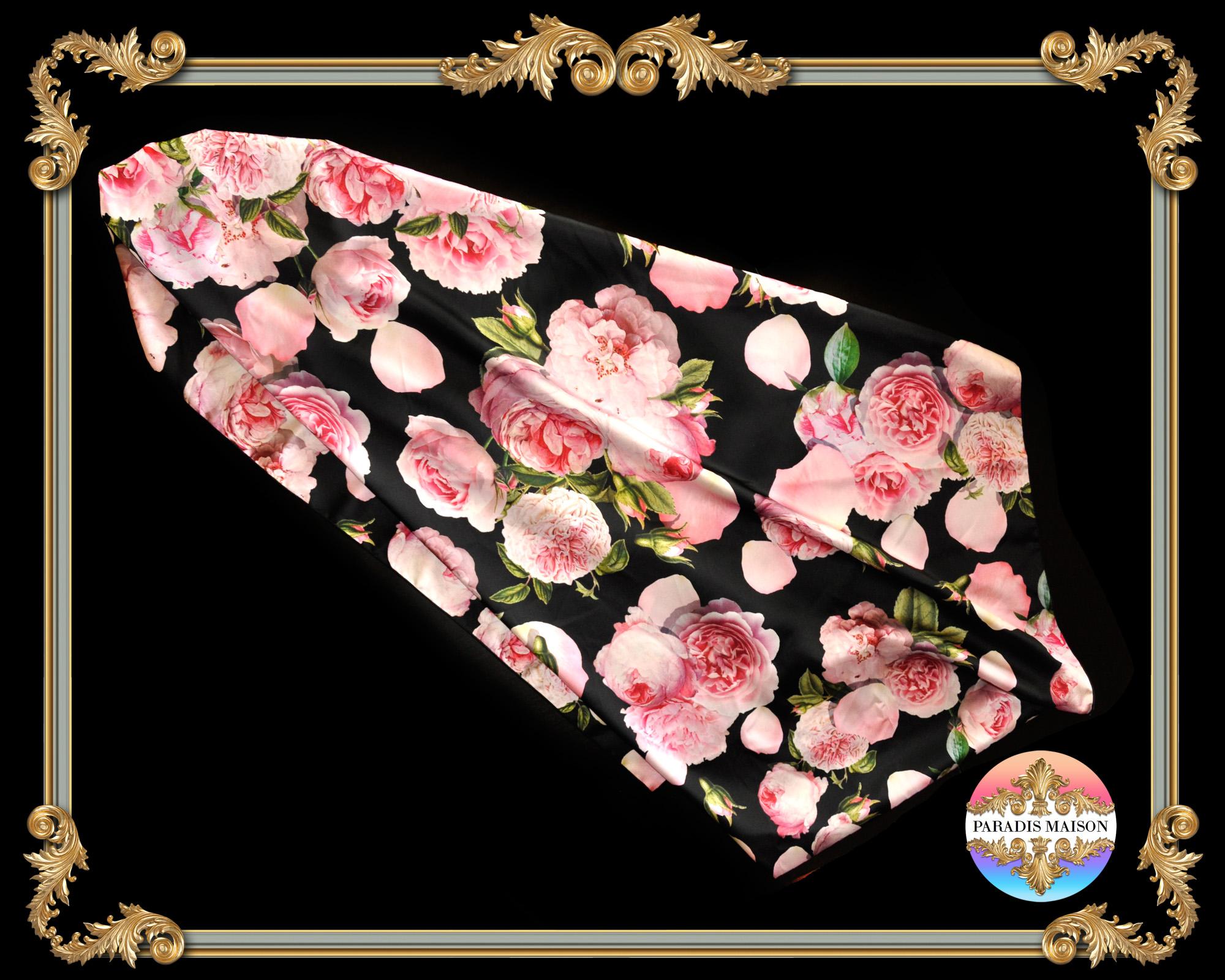 peony flower black silk square scarf PARADIS MAISON