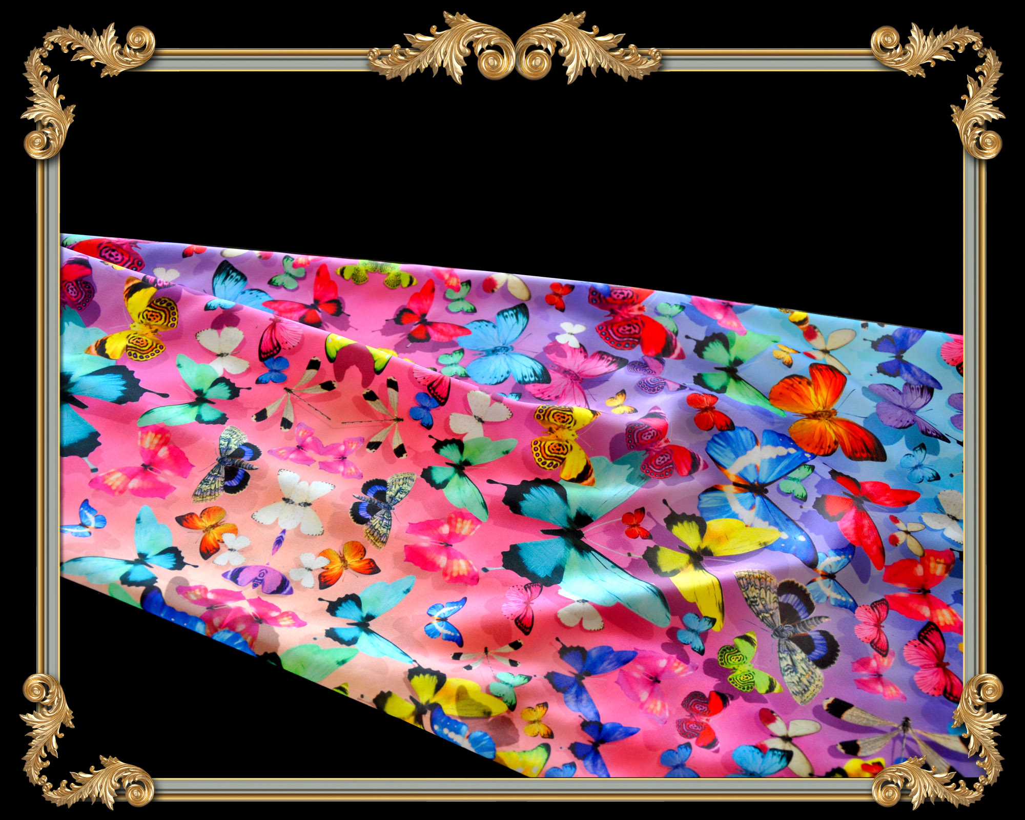 butterfly ombre square silk scarf