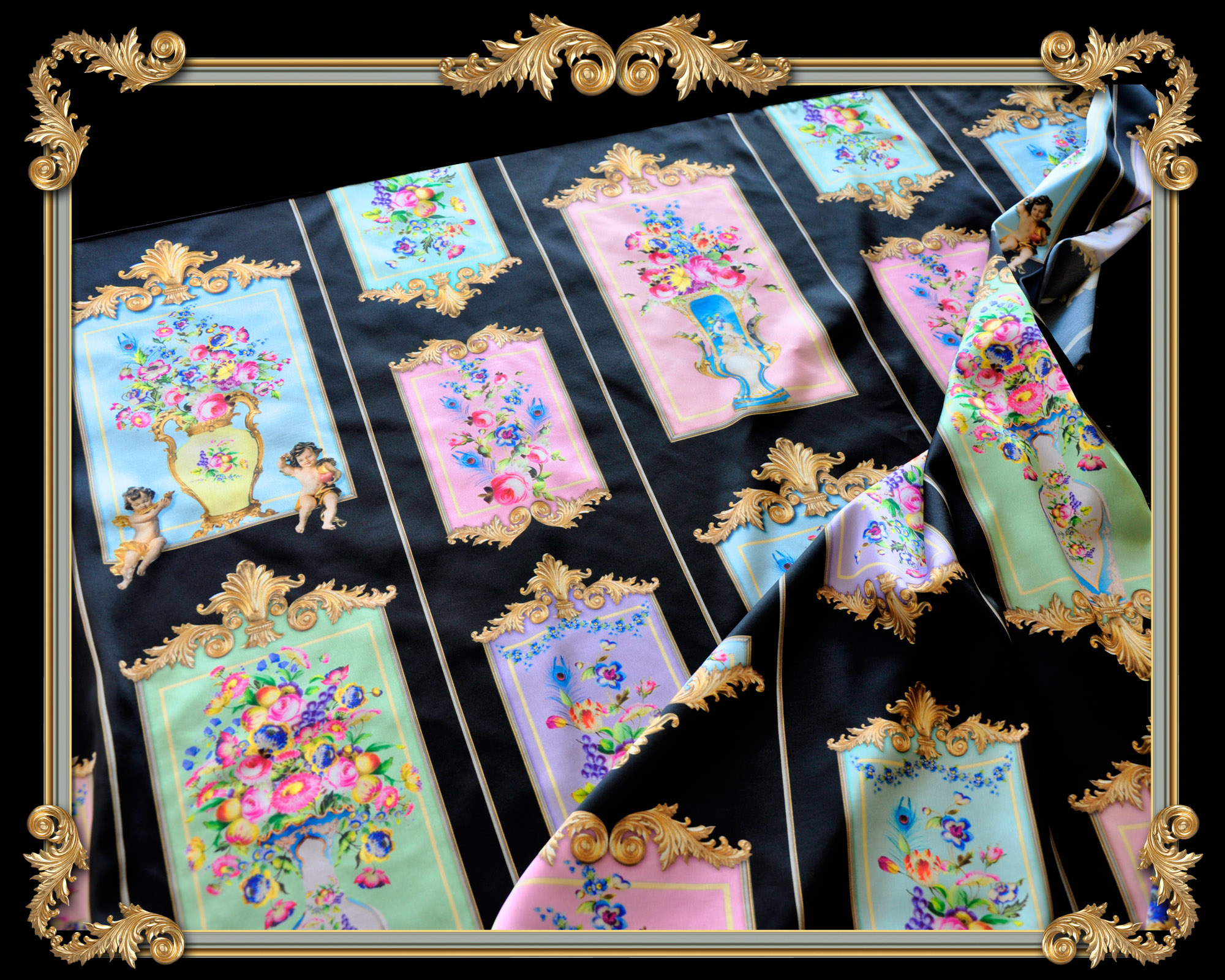 french versailles style square silk scarf