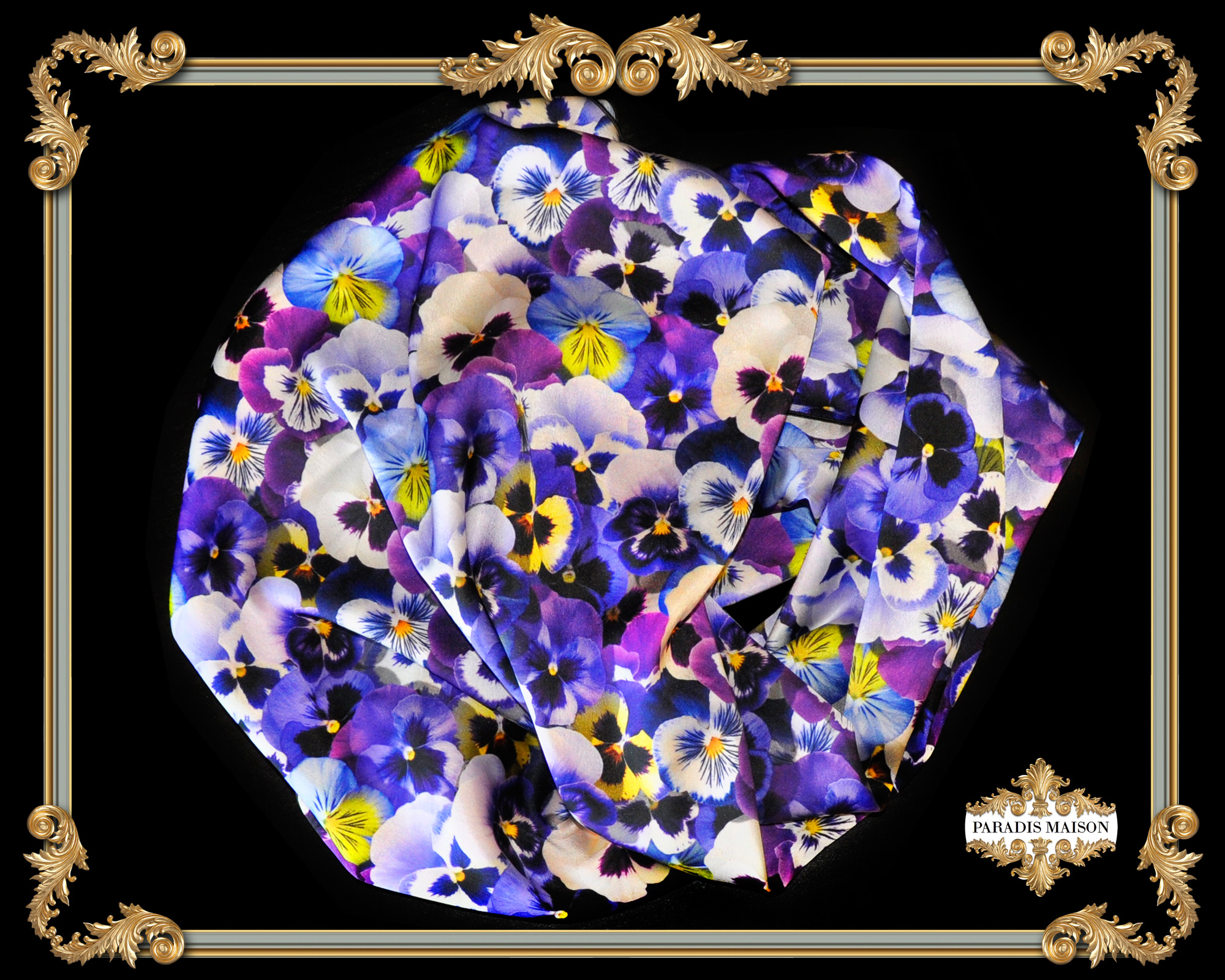 blue pansy flower square silk scarf PARADIS MAISON