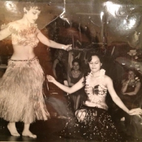 My mother and her sister, Diana performing the Hawaiian Hula dance.