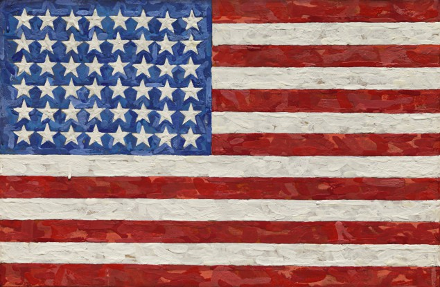 Jasper Johns, FLAG (1983). Encaustic on silk flag on canvas.