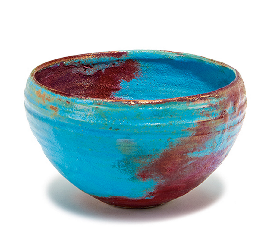 Beatrice Wood,   Bowl with blue and red glaze. (  Lot 263, estimated $2000-$3000)