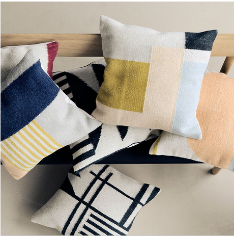 Ferm Living's Kelim Cushions; $100+up; available at Lawson Fenning. (image source: Domino)