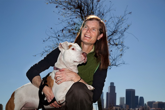 Lori Weise and Precious, one of the thousands of dogs she's managed to save with DDR.