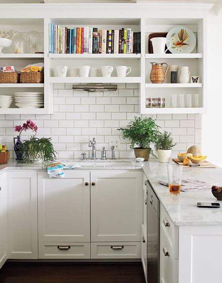Pure White cabinets make for a happy and cheerful kitchen no? Image source: Decorpad