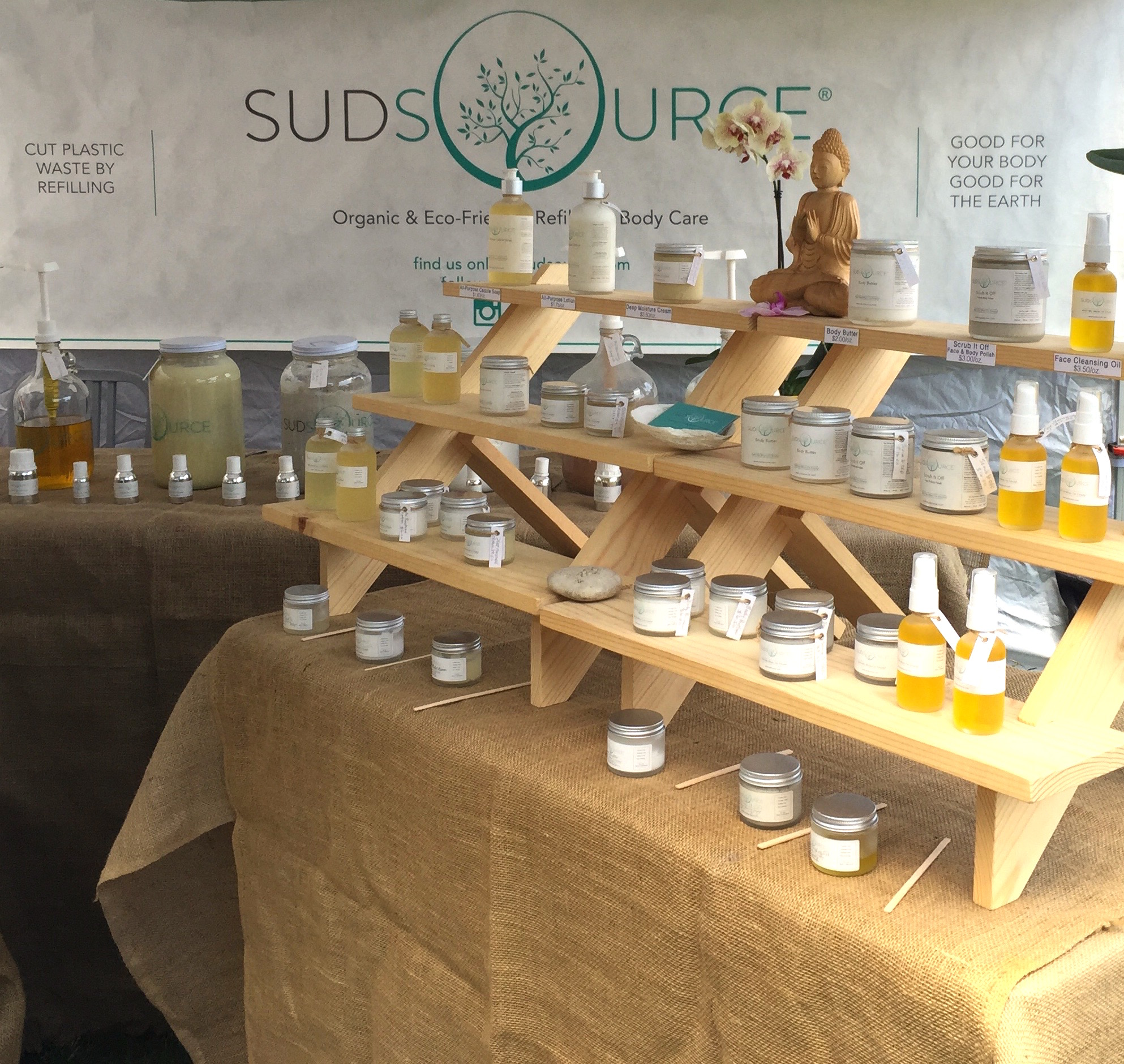 The Sudsource booth at local LA markets allows you to test out a full range of their products. You can also bring in your own glass containers and get refills of your favorites!