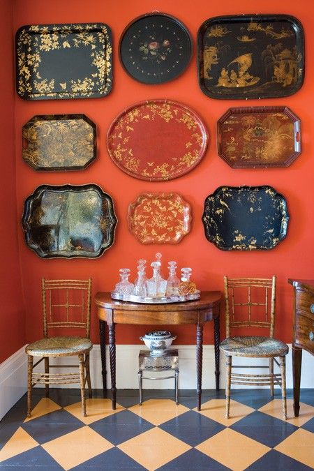 Gorgeous toile trays become wall art.
