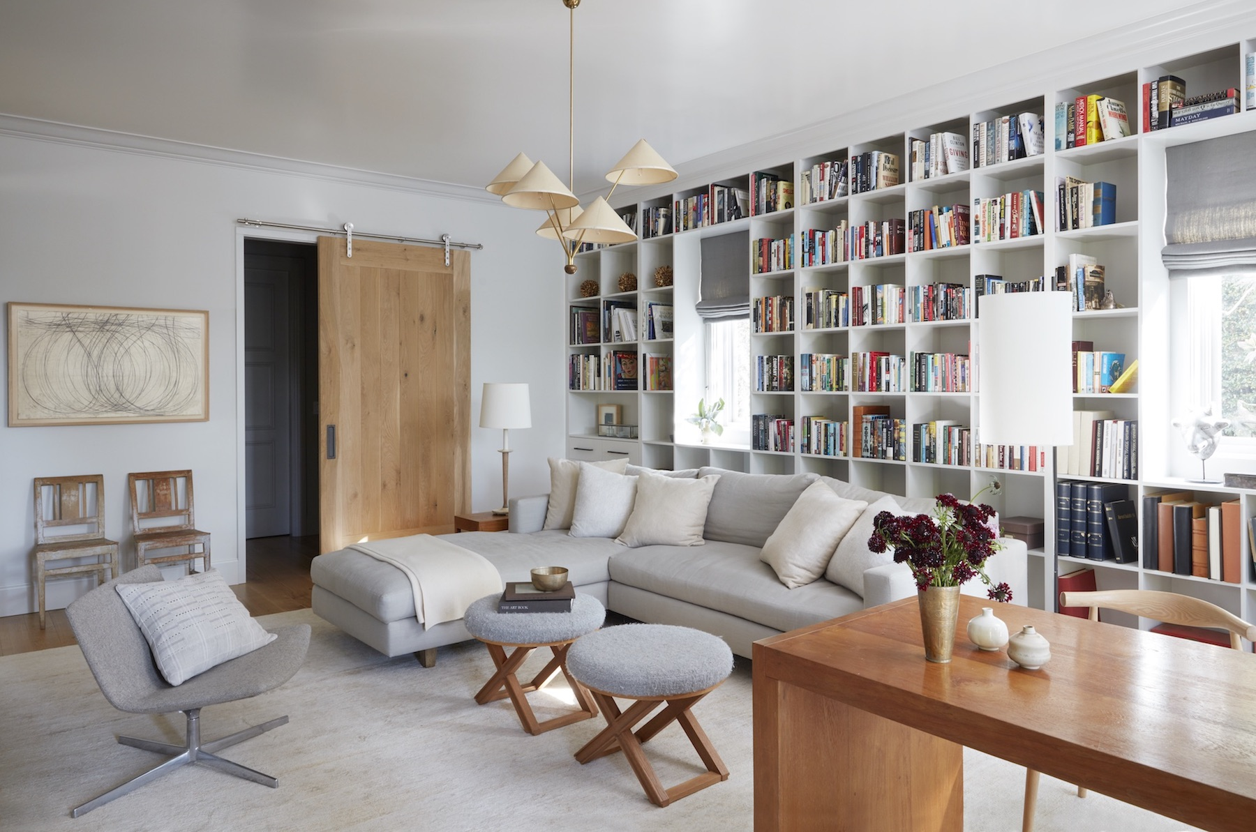 M.Elle Design  brings Brentwood brilliance with this bibliophile's living room