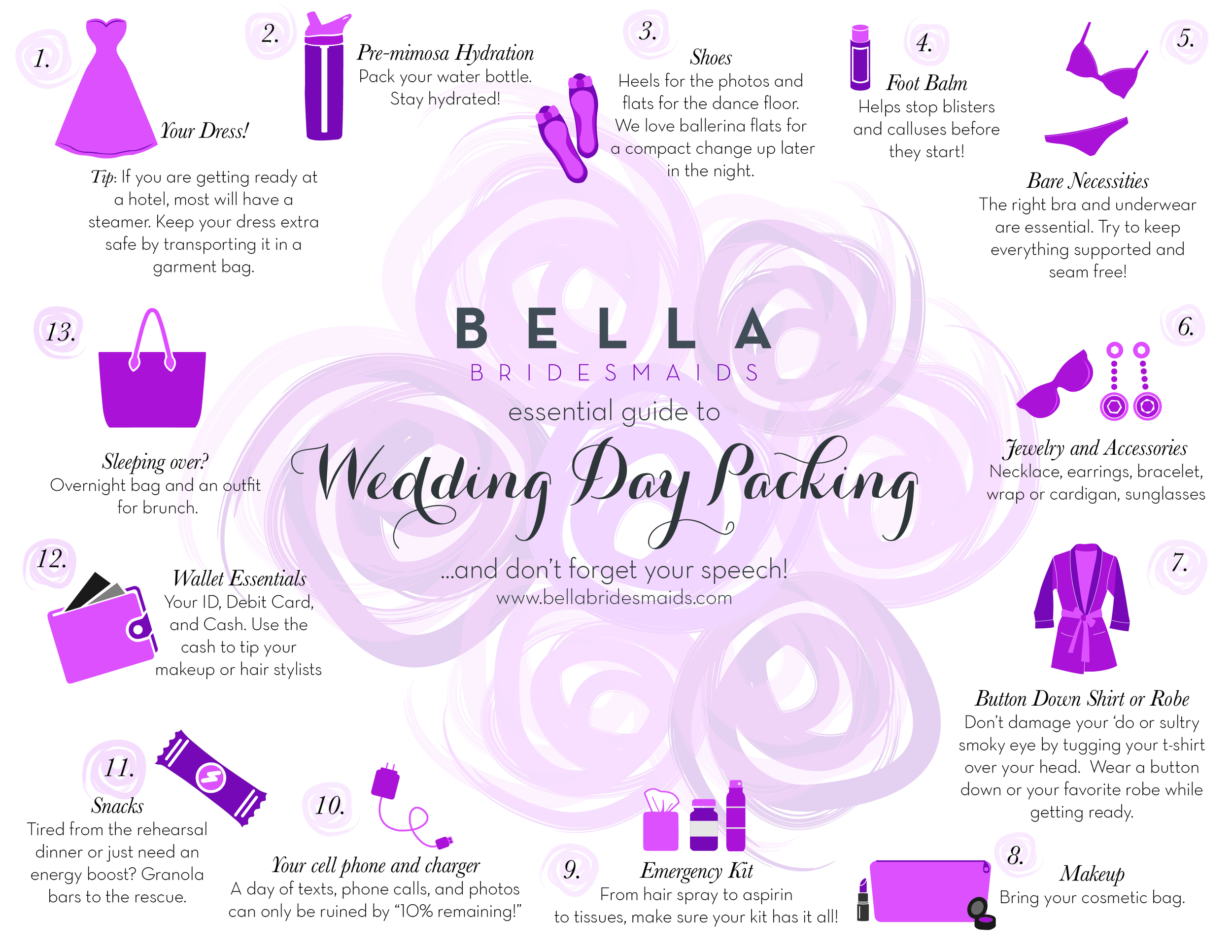 My most recent project-- A PR firm representing Bella Bridesmaids approached me to create an infographic about what to pack on a wedding day. Original digital illustrations and layout. Tre` cute!