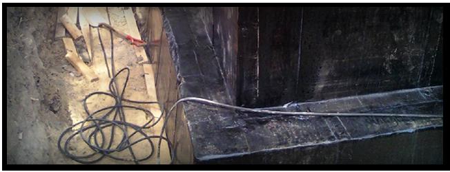 Cuvelage et étanchéité de fondations - Nous appliquons également toute une gamme de produits élastomères Soprema relative à l'étanchéité de murs et fondations.