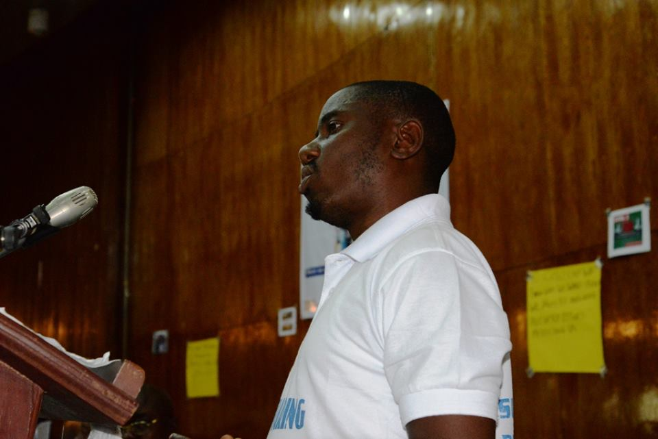 Jeremiah Sawyer, Child Health Now & Advocacy Coordinator World Vision Sierra Leone addressing the gathering on the Sustainable Development Goals SDGs.jpg