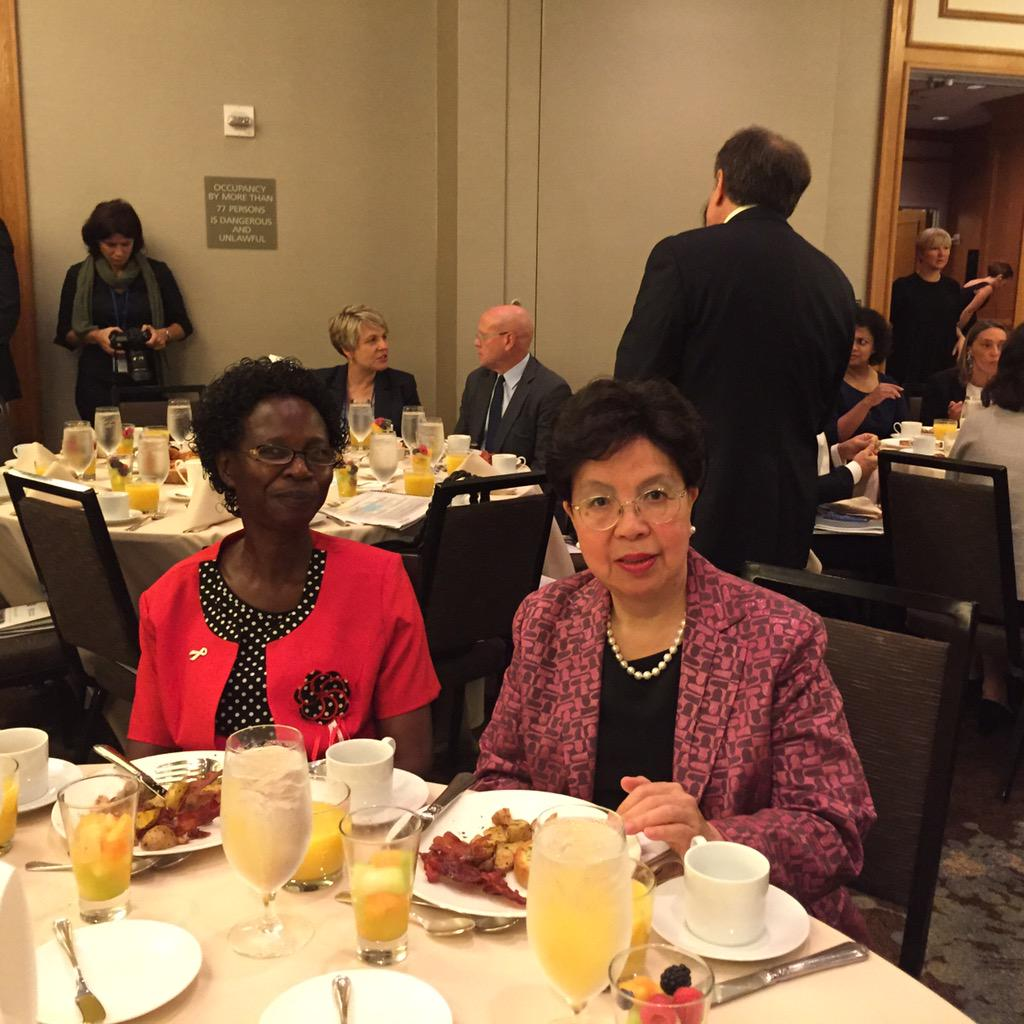PHILOMENA OKELLO WITH who director-general DR. MARGARET CHAN AT THE PMNCH ACCOUNTABILITY BREAKFAST