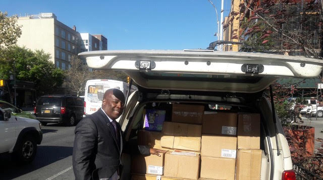 Keith Lilly with Migdol donation of much needed supplies.