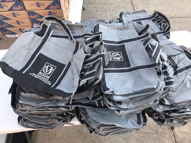 Extra gym bags we also contributed, besides the backpacks.