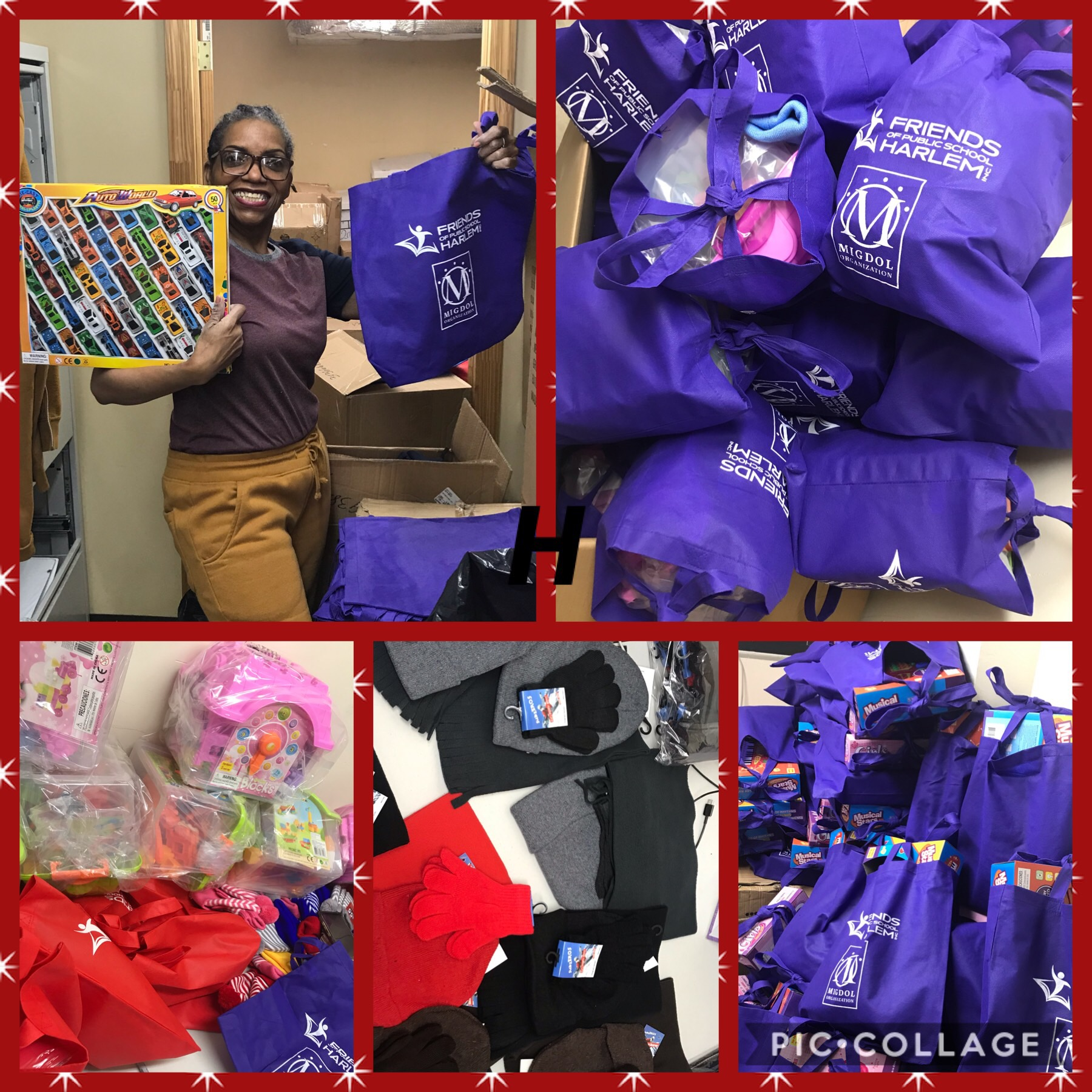 We're busy packing gift bags for the events at the Friends of Public School Harlem office!