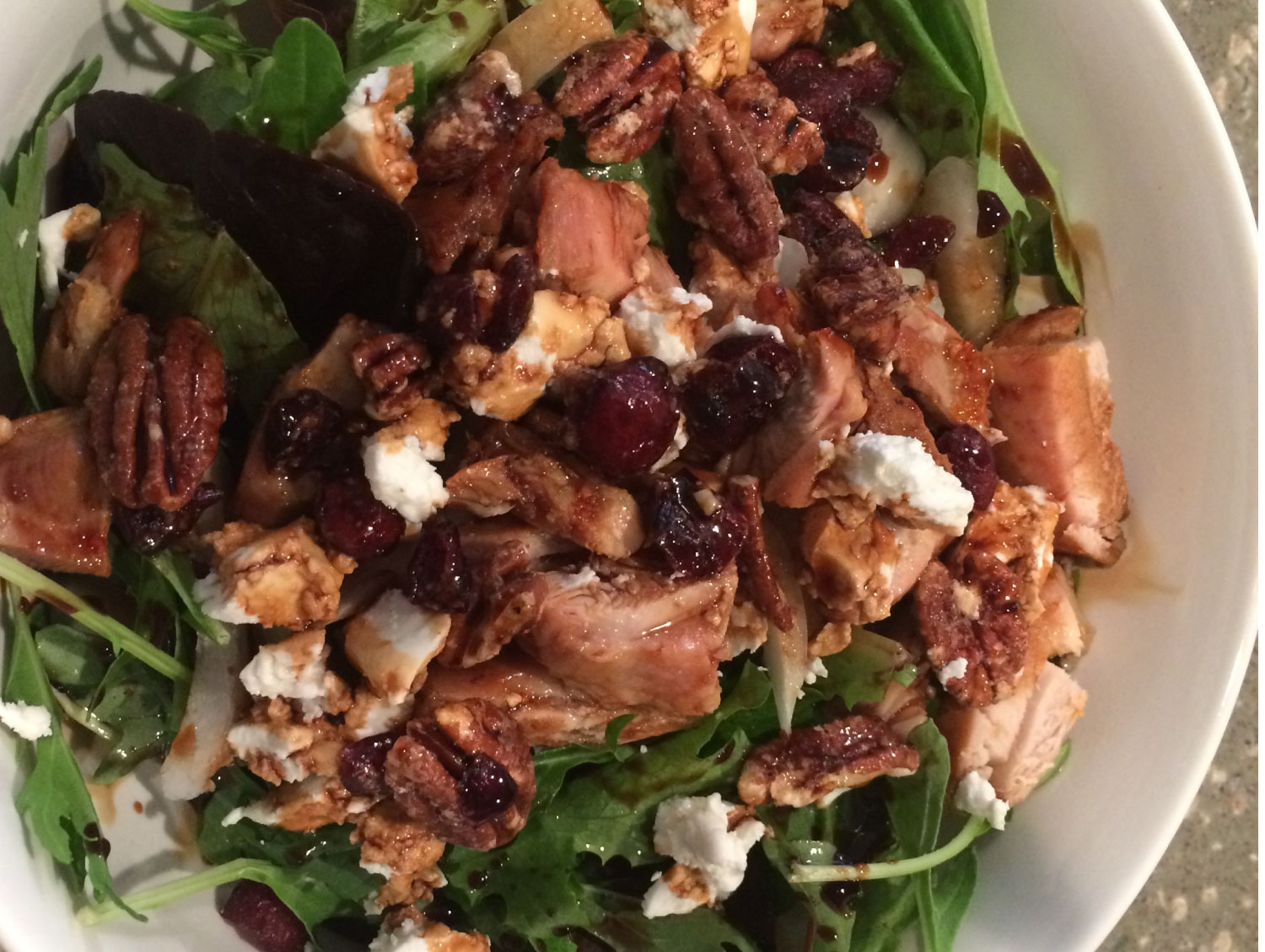 Chicken Salad with Goat Cheese, Pecans, Dried Cranberries, Balsamic Vinegar & Olive Oil