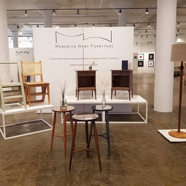 All set up at Mill Collective in High Point! I'll be there tomorrow for the opening reception and other days during the show. If you're in town for High Point Market, be sure to stop by! Other makers to check out are @radvalleydesigns @enkledesigns @parkinsonfurniture @furnitureisart @elijahleed @ericagimsondesign @mikenewins @adamdavisfurniture and many more.  And, since the last week was spent working wayyy too many hours to get the nightstands done, it's time to take it easy. Hence, the mango popsicle. 😃
