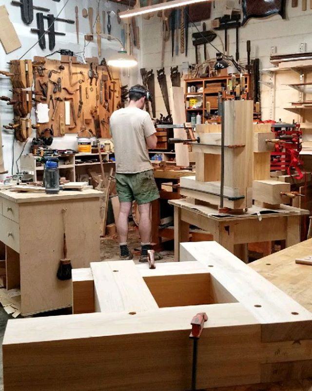 "I've spent the past week basically timberframing these eave brackets (or corbels) for a house in Durham. They're made of 5""x5"" wet cypress and there are 17 of them. I'm completely exhausted but banging in those pegs made me feel pretty hardcore."