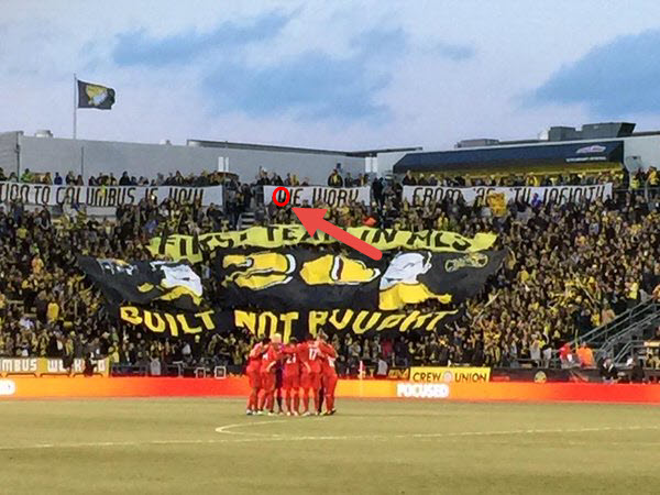 Noted here, Mr Hanson's contribution to another Columbus Crew fan display.