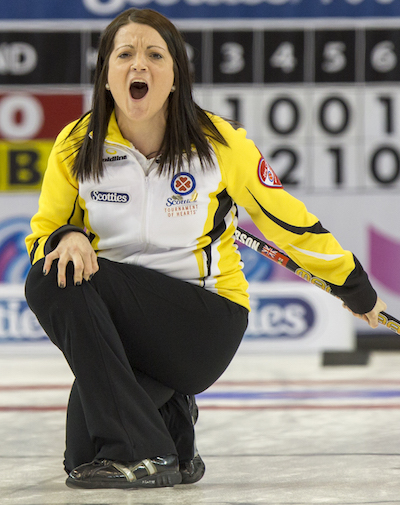 """""""Just wait til we get a semi-professional soccer team. Then we can get revenge on you Northern Ontario people in footy"""" -- Manitoba Skip Kerri Einarson (Photo, Curling Canada/Andrew Klaver)"""