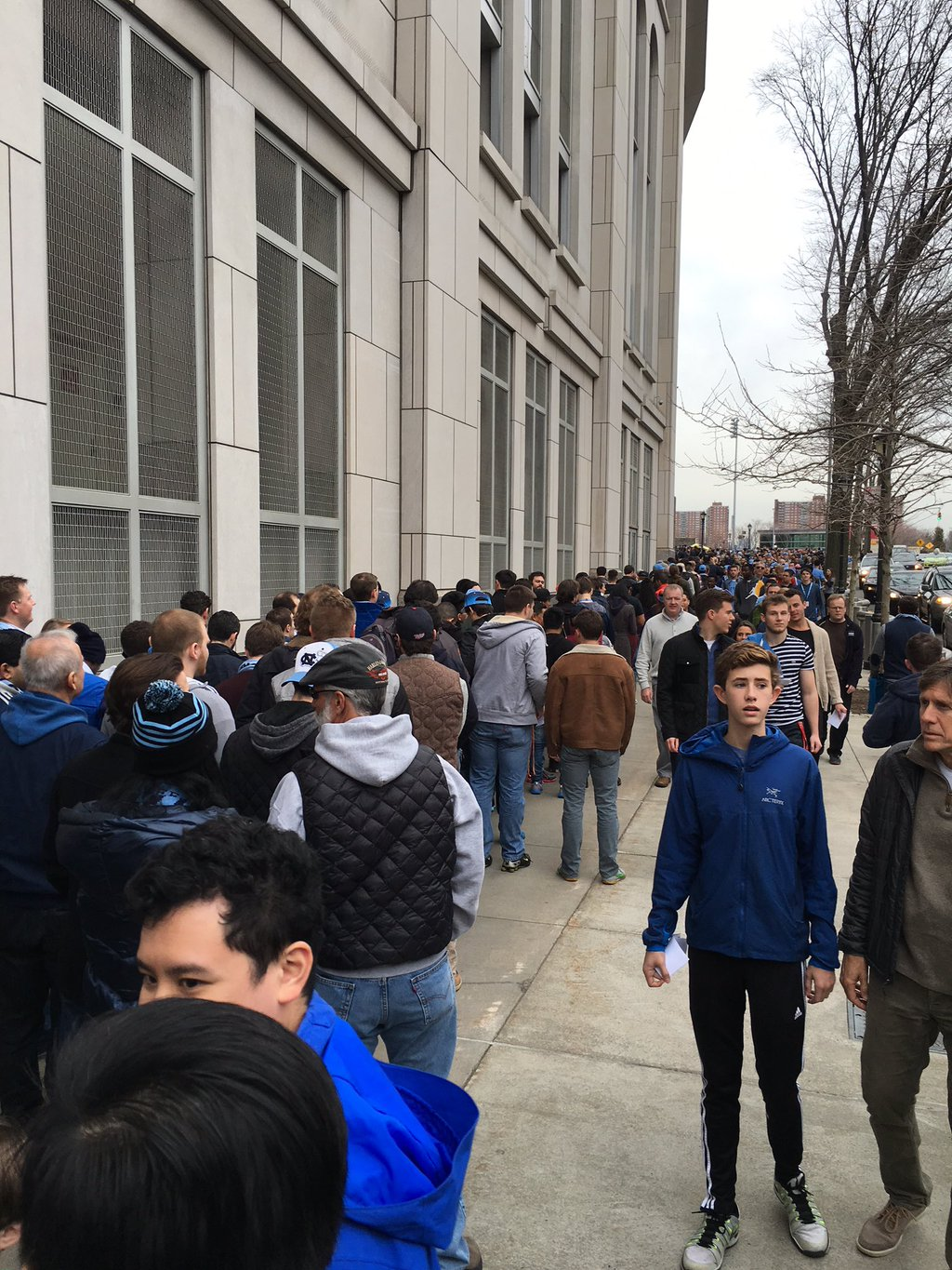 The line for NYCFC fans as of Tuesday the 15th at 1:30 pm waiting to attend the game last Sunday.