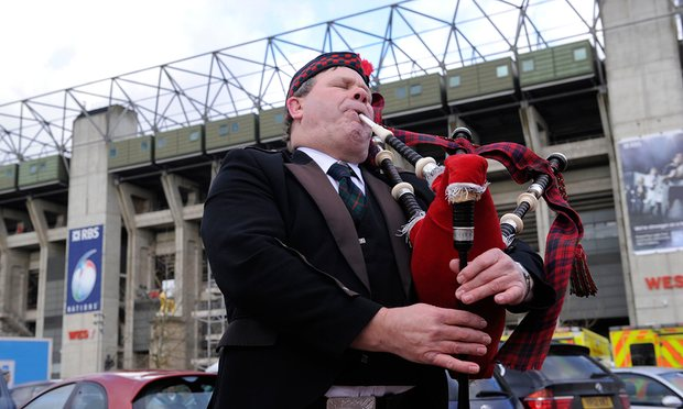 """Our brothers were banned from Twickenham! They were banned from Rugby! Against Modern Football! Against Modern Rugby Administrators And Other Fans That Don't Know That Bagpipes Are Great"" - Paul MacDonald   Photograph: Tom Jenkins for the Guardian"