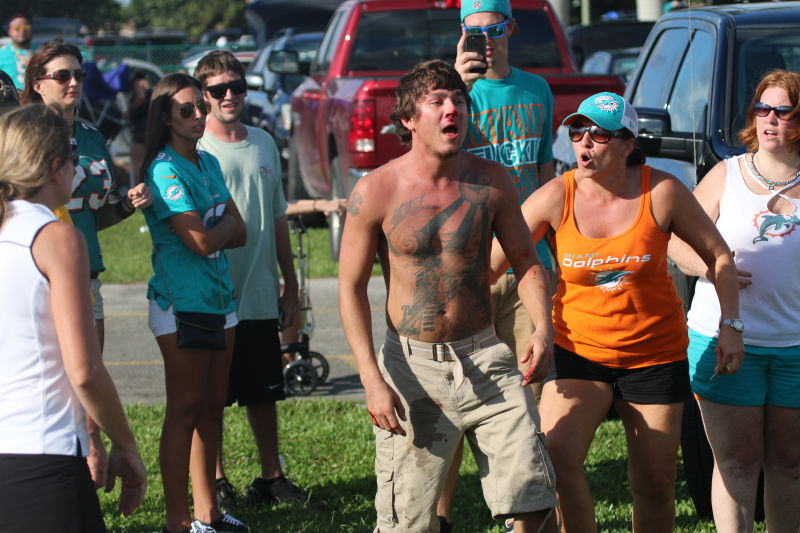 This guy is not a hooligan, mostly because he is a Dolphins fan. If he was a fan of Miami FC, well... he would be a hooligan then.