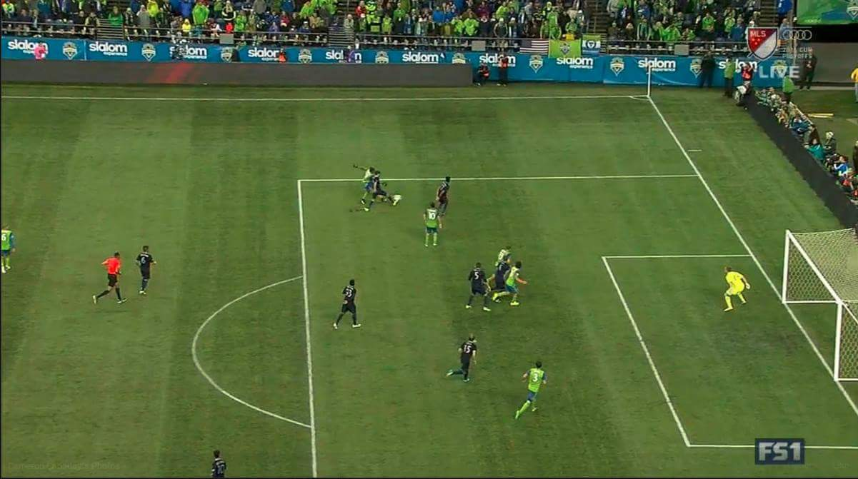 It's only offside if you count his head, and his feet, and well, nearly everything.