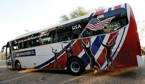 """""""This bus will be picking up paying passengers in Cleveland, Chicago and Providence, so be on your best behavior."""""""