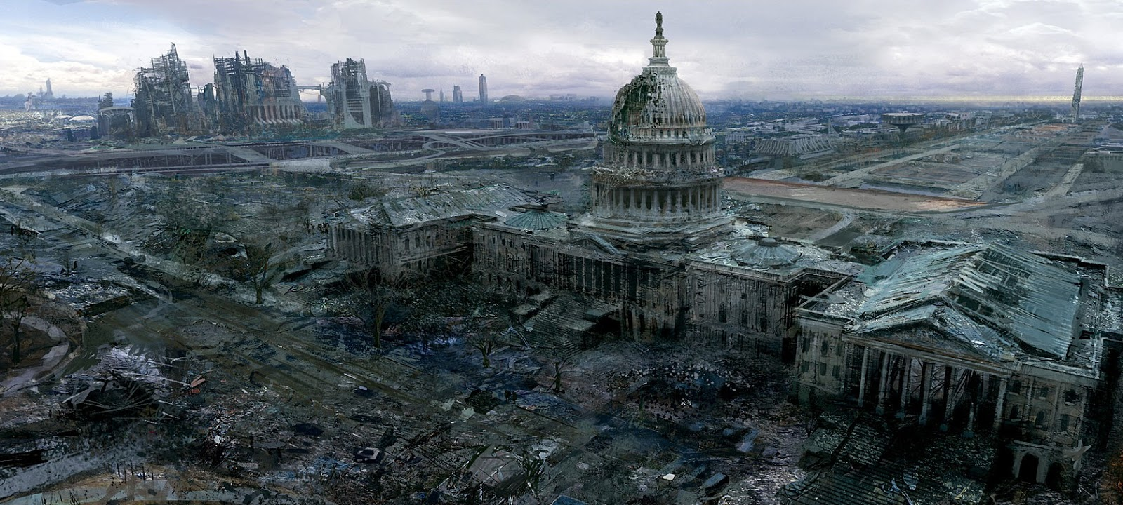 Image: Adam Adamowicz - Bethesda concept Artist for Fallout 3    Look, even DC won the race to have a picture in here before an apocalyptic New York.