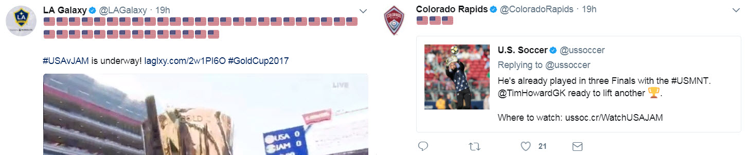 Two different approaches, but clearly the Galaxy are more patriotic than the Rapids. Almost TOO patriotic.