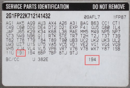 """Buick and Cadillac, along with all other GM makes, have the interior color codes on the Service Parts Identification sticker. Most of the time you'll find it in the glove box, but it could also be on the driver side door pillar, OR in the spare tire well. The interior color code is in the bottom right of the sticker, but is also one of the RPO codes near the end of the list ending in the letter """"I"""". Both of these can be helpful."""