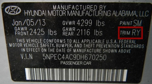 Hyundai vehicles  usually have the trim code sticker on either the the driver side door  or the driver side door pillar.