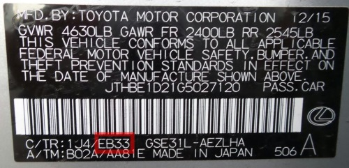 Toyota follows the same convention as Lexus -- the interior trim code is part of the VIN sticker affixed to the driver's side door jamb.