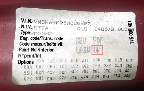 Volkswagen, like Audi, has an option code sticker that's usually in the spare tire well in the trunk of the vehicle.