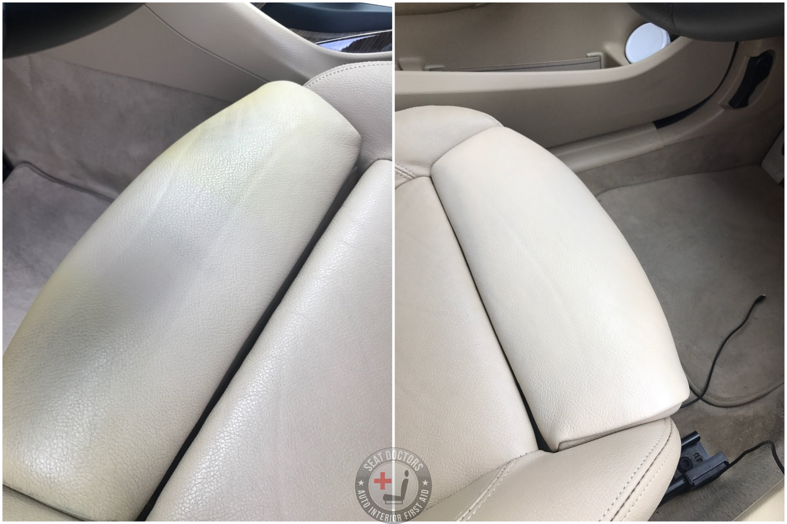 This customer was able to repair damage from the previous owner -- several years of sunscreen had worn off the beige topcoat of at the cushion edge. The customer was able to touch it up with a foam paint sponge. This was effected after two coats! If you're looking to touch up the leather in your BMW,  CLICK HERE  for more information!