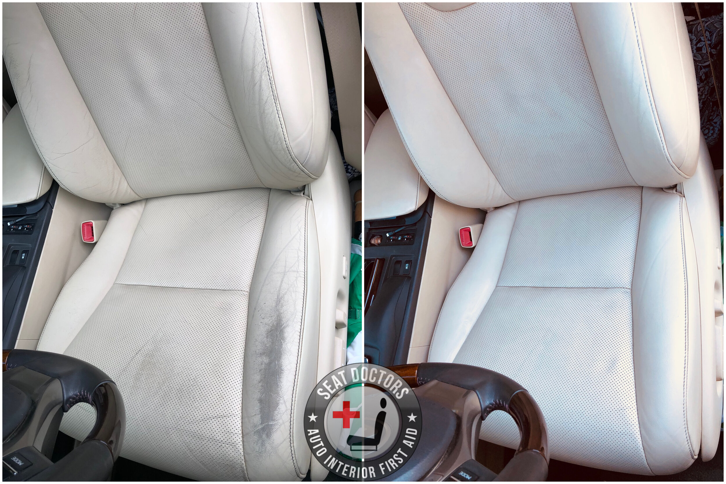 Customer submitted! They were able to touch up the driver's seat in their 2014 Lexus RX 350 with some Parchment leather touch up dye. If you're looking to touch up the interior on your RX 350, check out this page for more information :  https://www.seatdoctors.com/lexus-leather-dye/lexus-rx-leather-dye .  If you're not sure what you've got in your car and could use some help, check out our Custom Leather Dye page here:  https://www.seatdoctors.com/diy-leather-dye