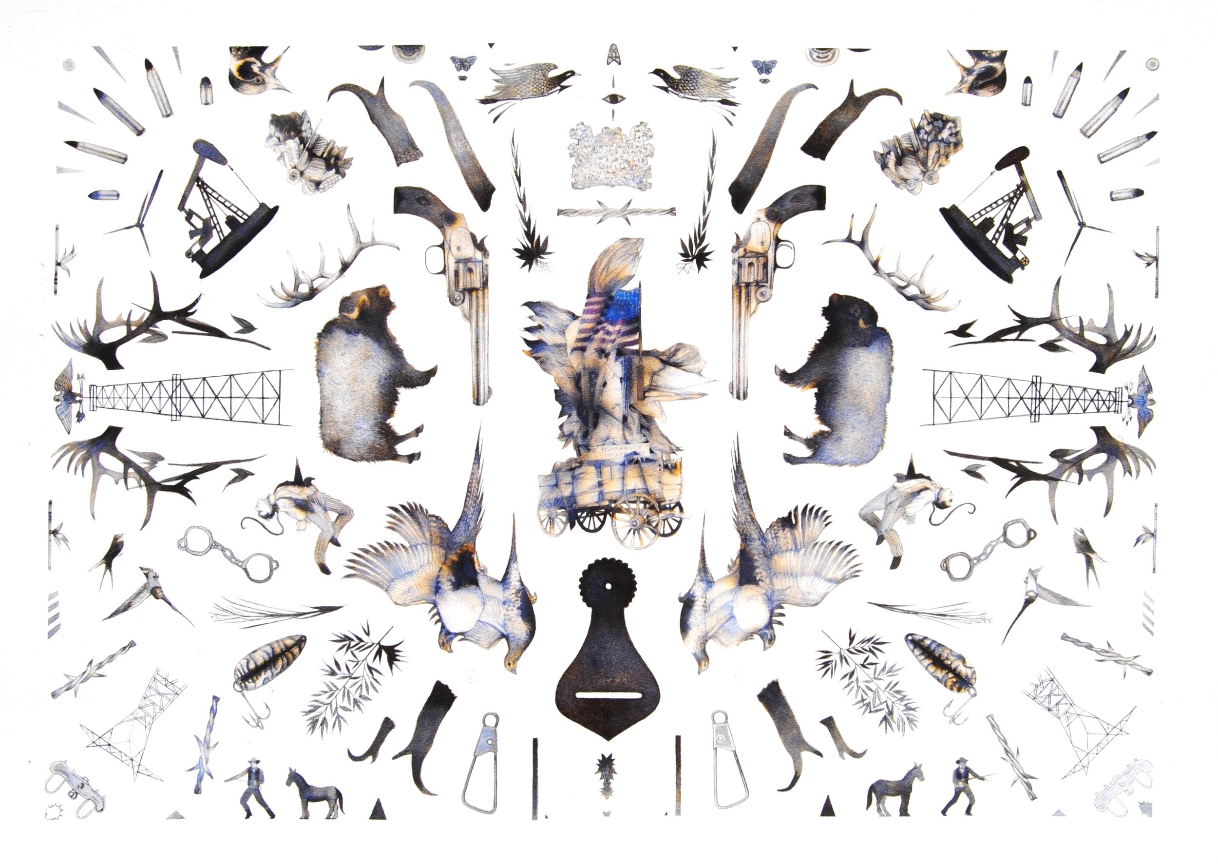 "Untitled  Ink on paper  30"" x 40""   Kenise Barnes Fine Art"
