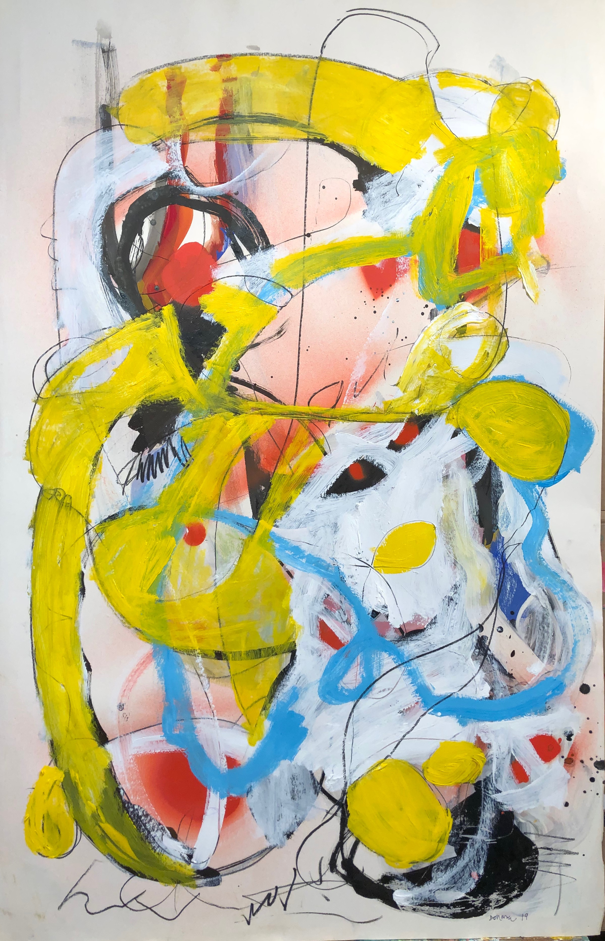 """letting it fly  Acrylic paint, charcoal, Sumi Ink and Enamel Spray paint on printing paper  40"""" x 26 """" 2019"""