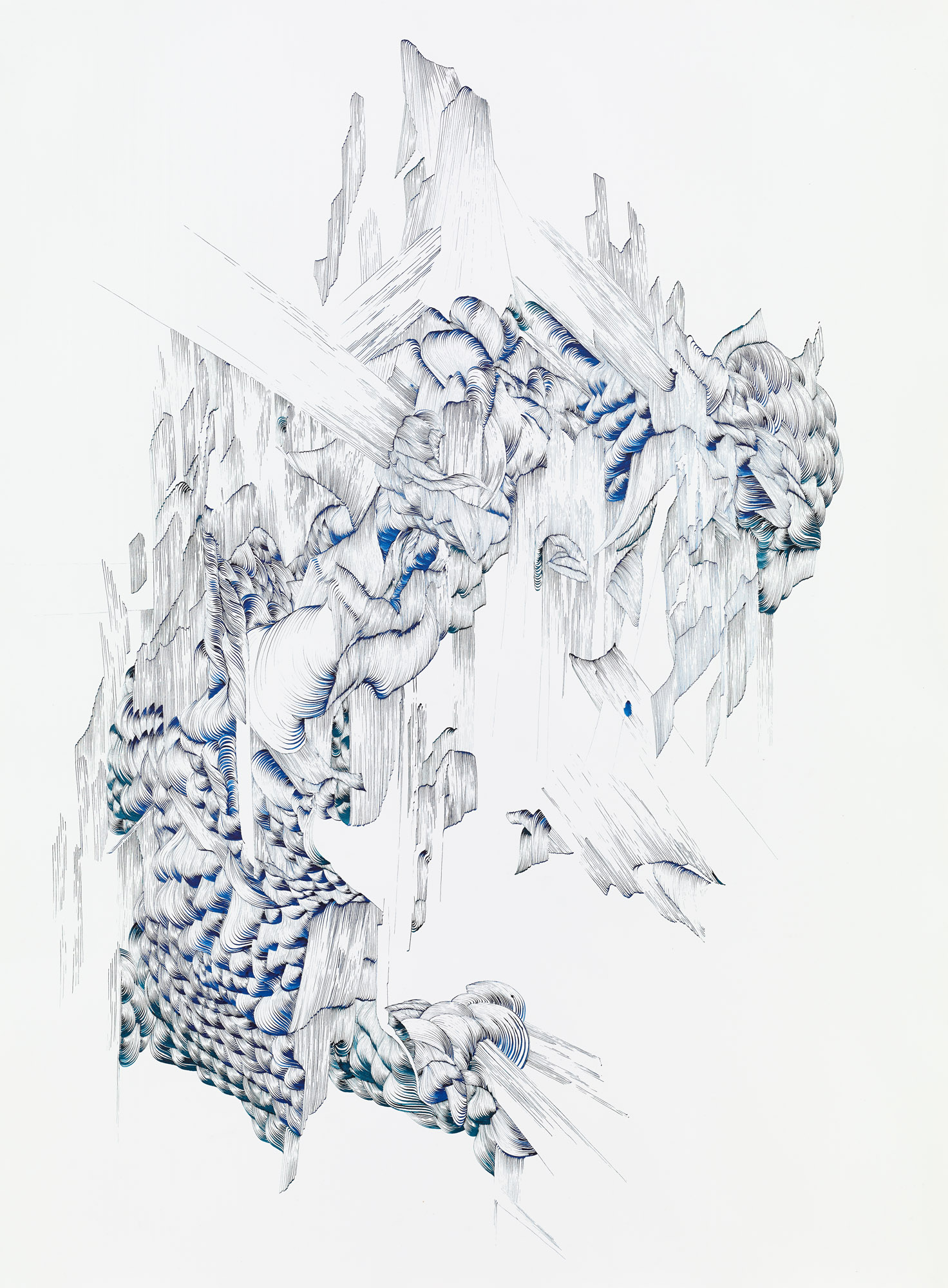 BK P142 | untitled | blue ink on paper | 120x100cm | 2014