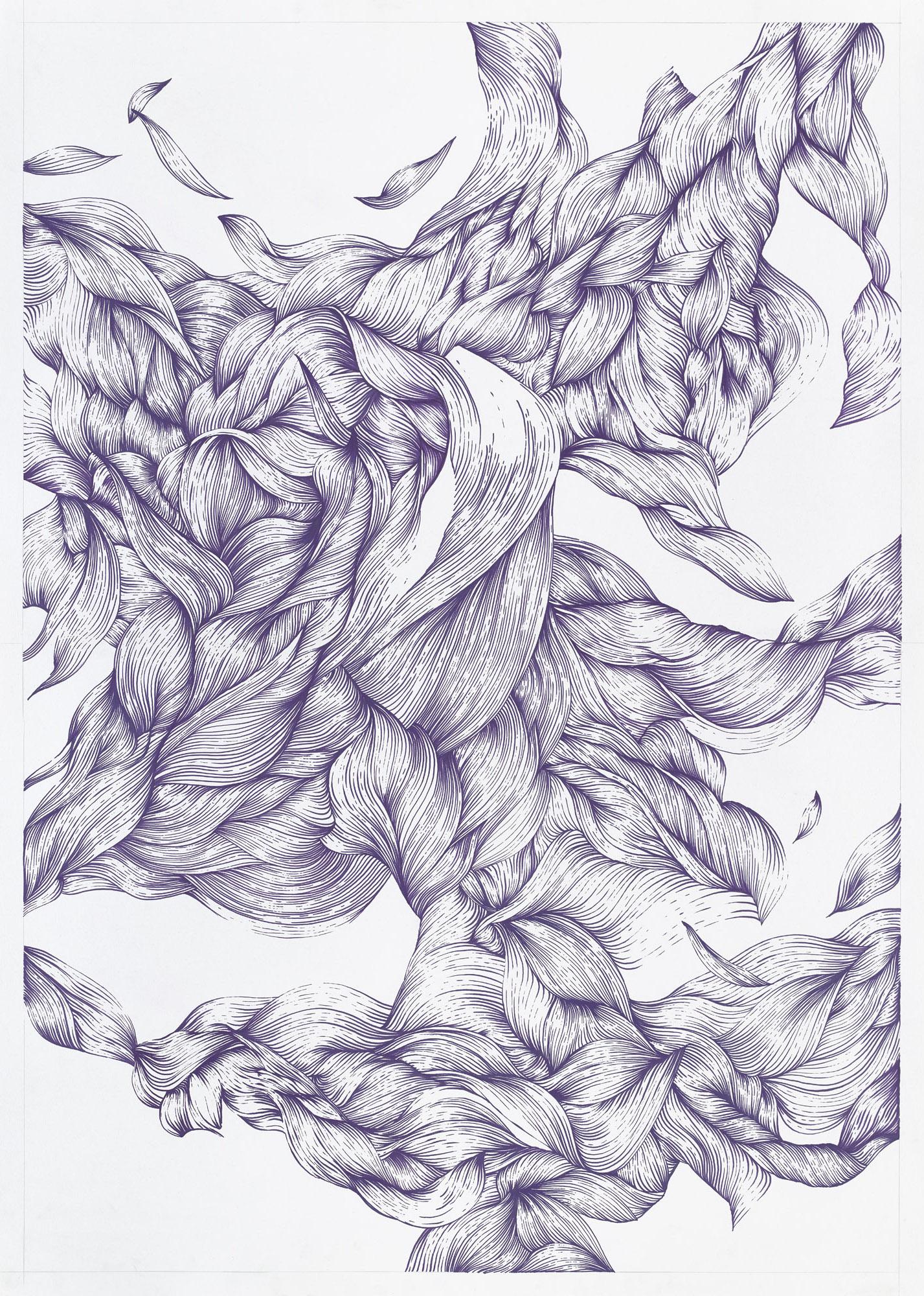 BK P26555 |untitled purple metallic gloss paint marker on paper | 132x91 cm |2017