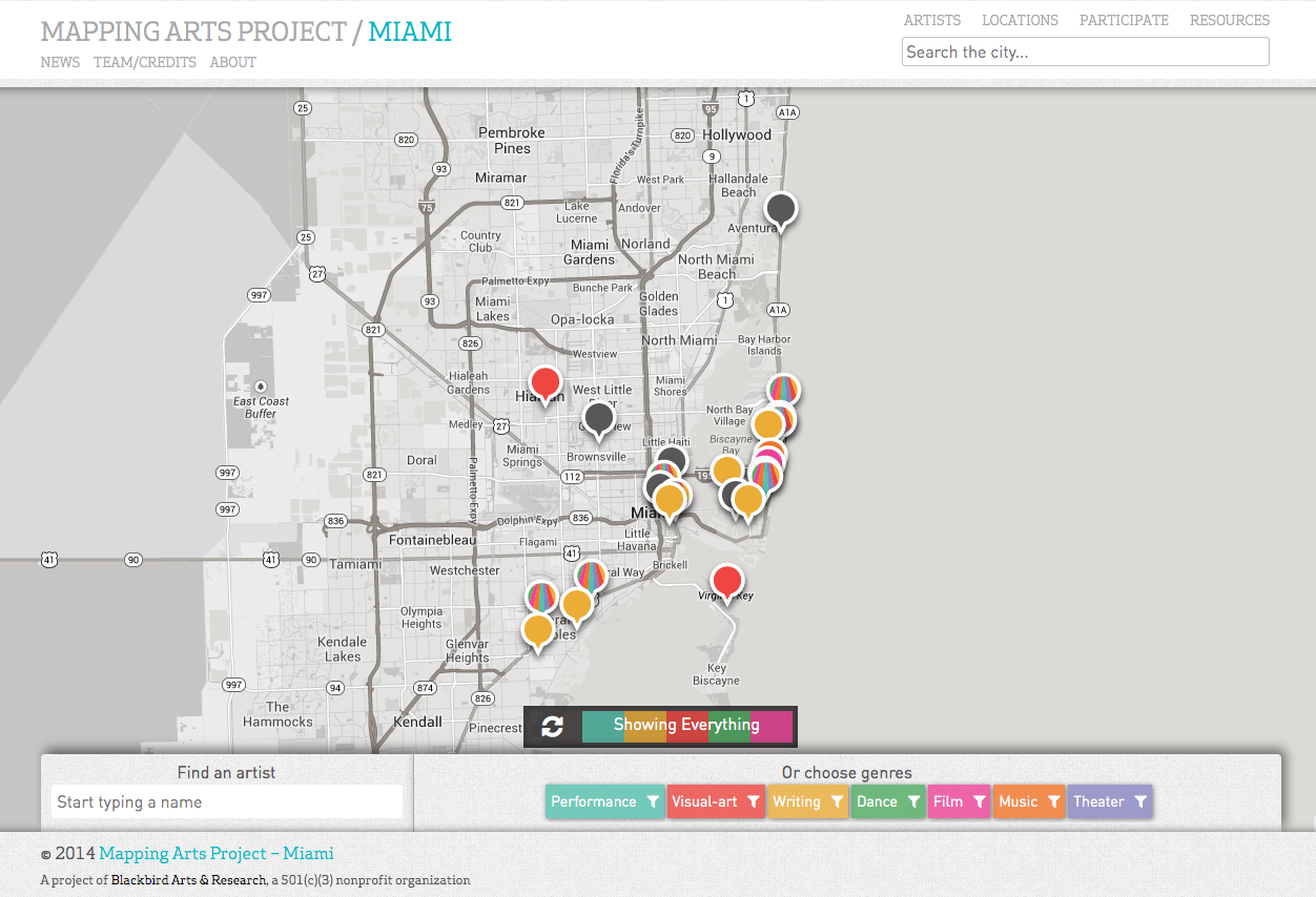 Mapping Arts-Miami, Homepage, 2015.