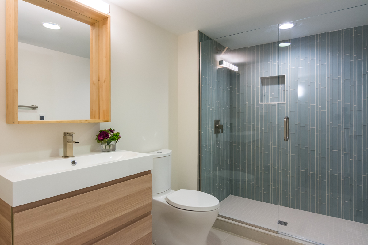 This full bathroom is just one aspect of a complete basement renovation.