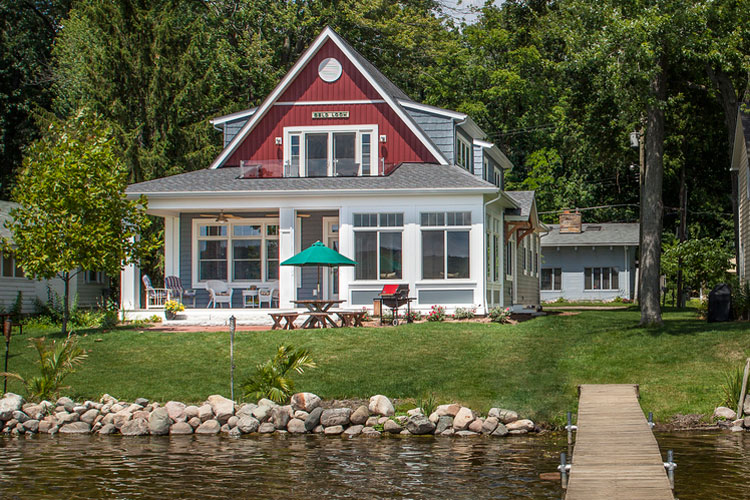Custom traditional waterfront cottage renovation on lake michigan.