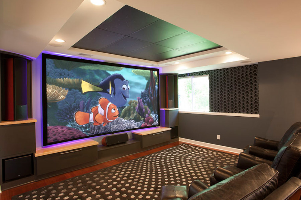 Remodeled basement that is now a large home theater