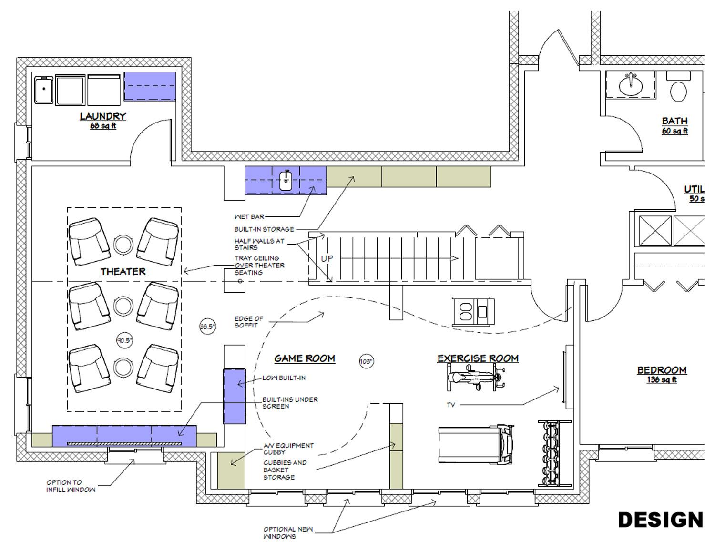 Finished Basement Redesigned Floor Plan