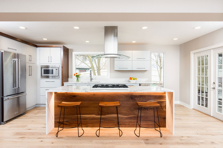 Modern open concept renovation in ann arbor