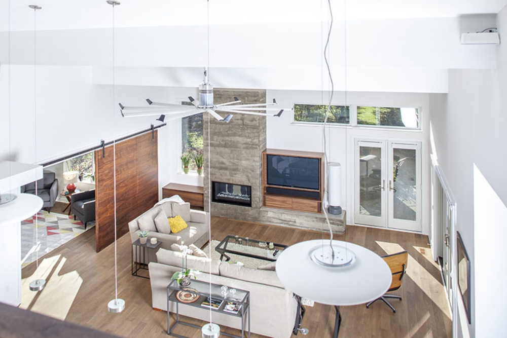 Contemporary Custom Home, Living Room Remodel with Barn Door
