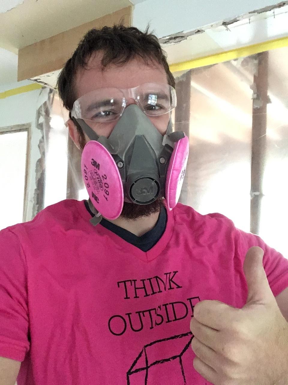 Carpenter Ryan models a respirator